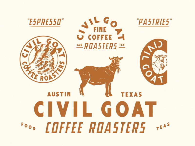 Civil Goat texas austin badge seal illustration roasters coffee goat branding identity civil goat