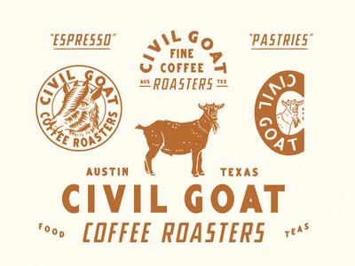 Civil Goat texas austin badge seal illustration roasters coffee goat branding identity civil goat