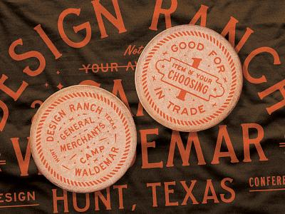D Ranch Merchants workshop camp merchandise brand extension texas currency design ranch wooden nickel