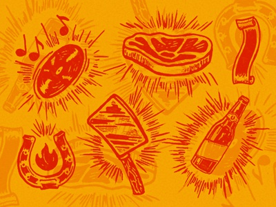 Hot Luck Sketches hand drawn banner beer horseshoe vinyl record steak meat illustration sketch hot luck
