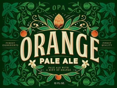 OPA leaves flowers hops wip label packaging beer fruit pattern illustration orange pale ale
