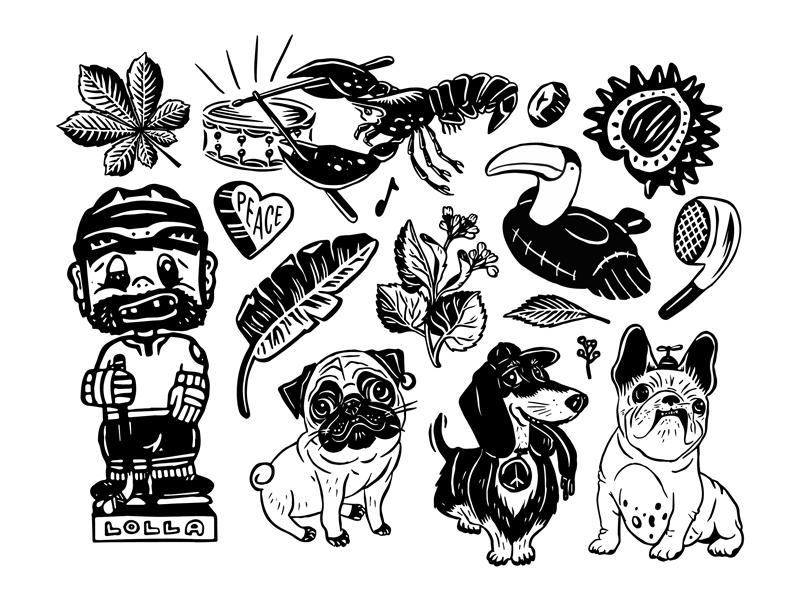 Various Illos music house boat cassette hand drawn hockey leaf earbud crayfish floatie dogs illustration