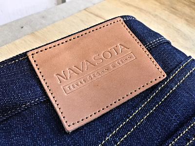 Navasota handsewn handmade sewn texas jeans selvedge identity logotype patch leather navasota denim