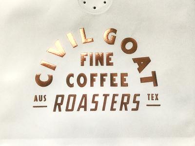 Civil Goat Coffee Bags texas austin print design copper metallic hot stamp roasters packaging coffee civil goat