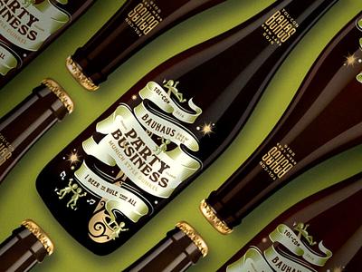 Party Biz Full banner lotr pipe illutration hobbits bauhaus packagedesign screen printed bottle beer packaging