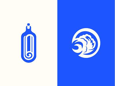 Coastal News Today Brand Marks identity branding coastal icon branding wave swell message newspaper bottle news app