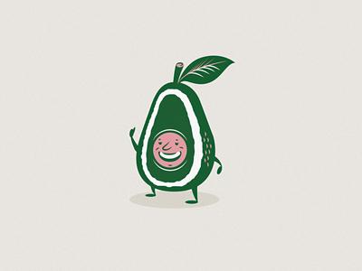Dudes Stoked brand identity stoked smile mascot character illustration avocado