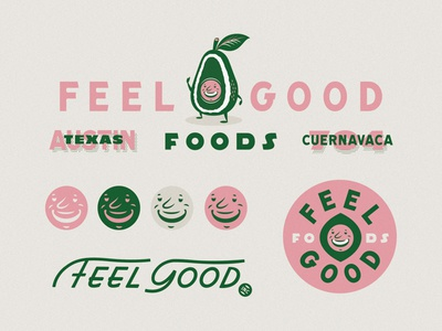 Feel Good Foods brandidentity lettering illustration smile texas austin foods avocado good kitchen food program