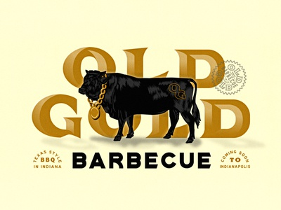 OLD GOLD Barbecue indiana brand chain identity bbq badge lettering brand identity hand drawn barbecue illustration cow gold
