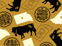 OG Pattern brand extension stamps icons pattern texas barbecue indianapolis indiana illustration chain cow