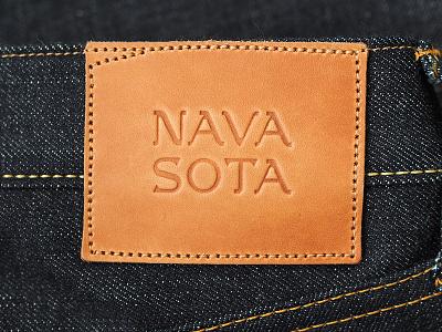 Navasota Co navasota raw denim brand identity lettering leather patch denim