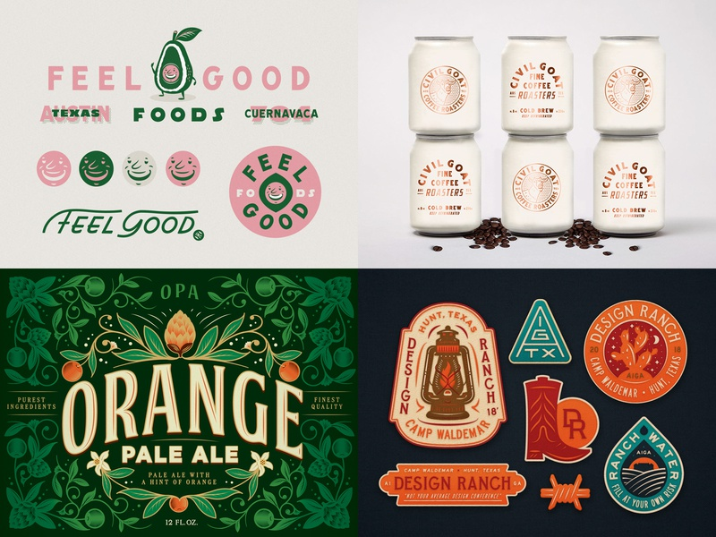 Top 4 of 2018 drew lakin texas aiga austin lettering consumer packaged goods packaging brand identity illustration design ranch civil goat