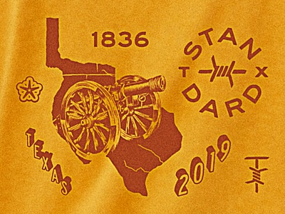 Texas Standard cannon barbed wire merchandise standard hand drawn republic of texas texas illustration