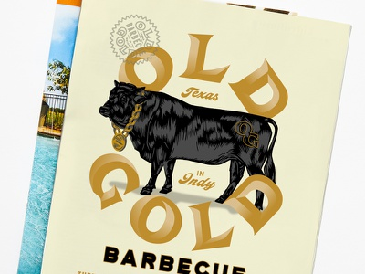 Old Gold Edible Indy Ad cow badge lettering editorial magazine print ad illustration barbecue old gold