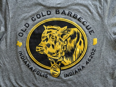 Old Gold Tees barbecue indianapolis old gold illustration cow tshirt screen printed