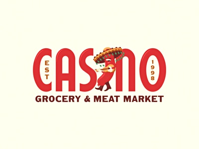 Casino WIP wip typography merchandise illustration meat market grocery mascot sausage casino