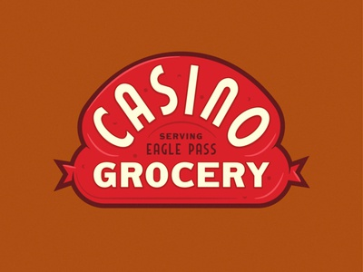 Casino Extension texas lockup badge seal illustration lettering identity grocery casino sausage