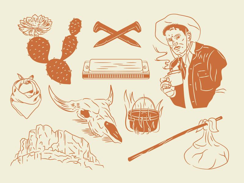 Civil Goat Extension Illustrations merchandise civil goat coffee roasters hand drawn railroad traveler nomad harmonica cactus bandana west texas cow skull coffee cowboy illustration
