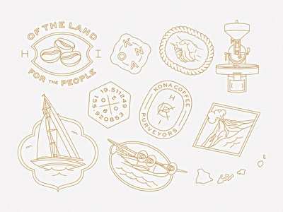 Kona Coffee Purveyors stamp seal monogram hawaii roaster handshake beans coffee sailboat volcano monoline illustration icons