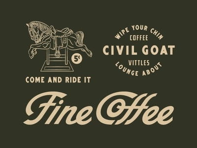 Civil Goat Extension monoline lettering brand extension fine coffee mechanical horse civil goat illustration custom type coffee script