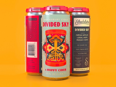 Divided Sky pinthouse pizza shacksbury 16oz package design collaboration illustration divided sky hoppy packaging cider