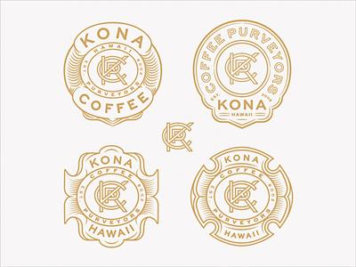 KCP Monogram Badge Variants purveyors coffee monoline brand extension brand identity lettering sans serif monogram lockup hawaii kona seal badge