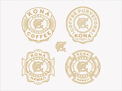 KCP Monogram Badge Variants purveyors coffee monoline brand extension brand identity lettering sans serif monogram lockup hawaii kona seal badge