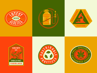 Hemp Badges brand extension illustration seal badge cannabis hemp