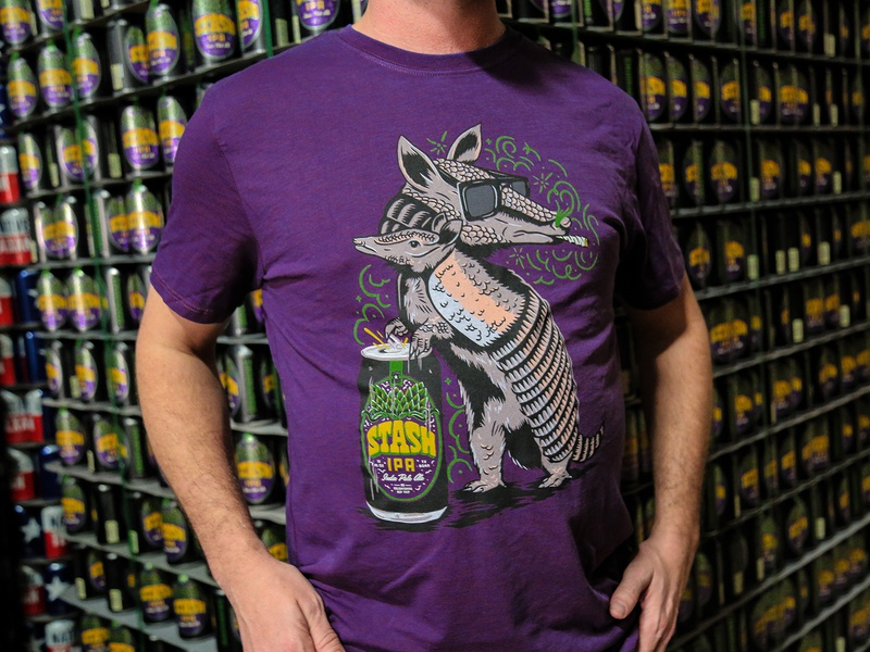Independence Stash Dillo Tee beer clouds stoned texas austin craft beer ipa independence brewing illustration merchandise t-shirt armadillo
