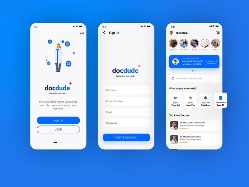 Docdude app ui xd design ux animation instagram ux ux  ui