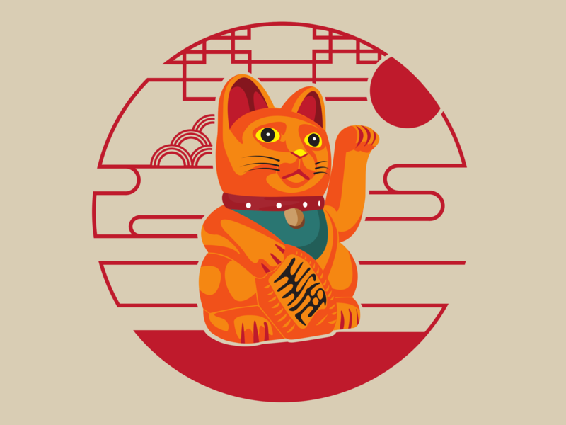 Lucky cat icon design illustration dribbble vector
