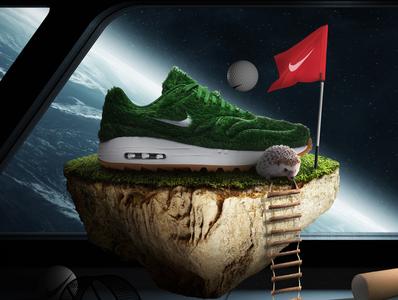 Nike Air Max 1 | Golf Grass - Poster floating toys spaceship space hedgehog golf earth nike airmax
