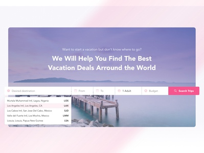 Main Search UI for Vacation Travel Website