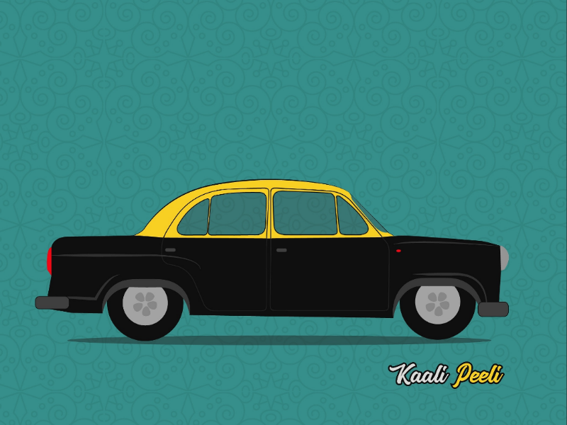 Kaali Peeli Cab car cab indian illustration