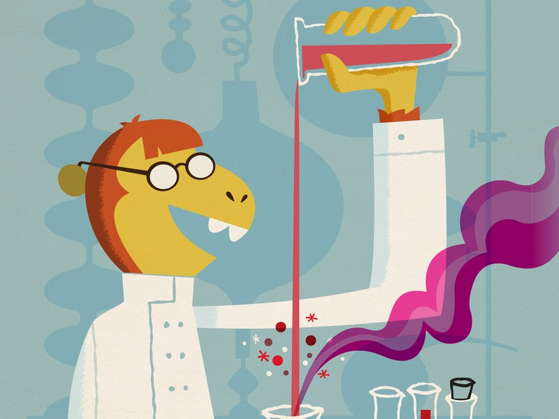 Professor Bananas children book illustration character design illustration