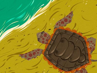 Turtle on the beach animal wild childrens book child background animation digitalpainting conceptart digitalart illustration digital 2d