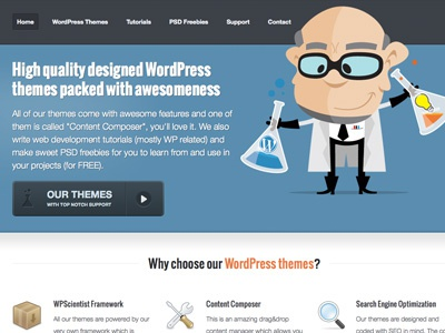 WPScientist website website wpscientist freebies psd tutorials