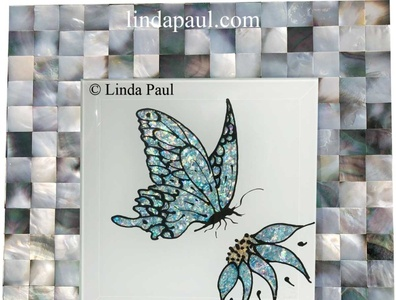 blue butterfly and flower hand made mother of pearl mosaic