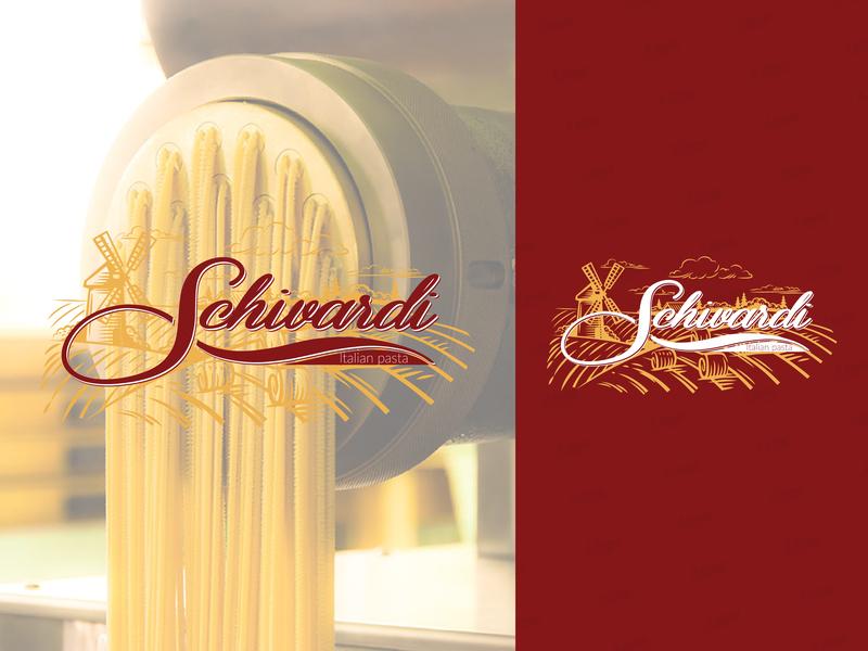 Schivardi Italian Pasta restaraunt pasta red admin illustration icon vector typography design minimal branding logo