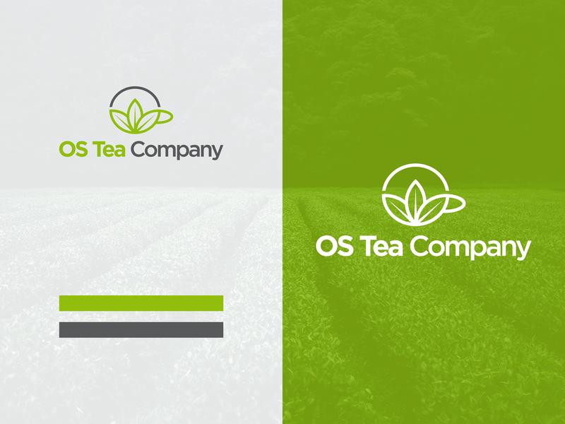Os Tea Company Logo typography minimal design branding logo icon leaf logo leaf white cup company green tea
