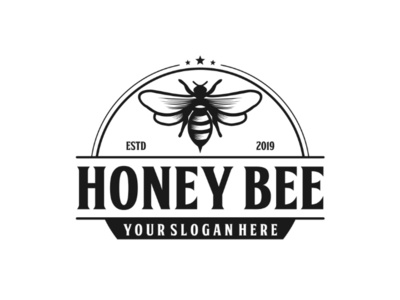 Honey bee illustration vintage logo