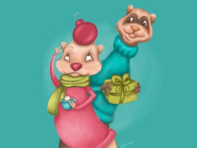 Ferrets Xmas holiday ferrets christmas