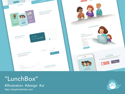 Lunchbox illustrations mobile ui design