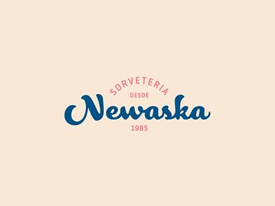Sorveteria Newaska - Logo shop handwriten ice cream brand idendity logo