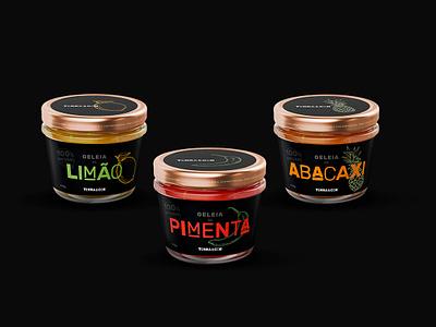 Terra&Cor - Organic Jams glass typography illustration chilli restaraunt jam label design