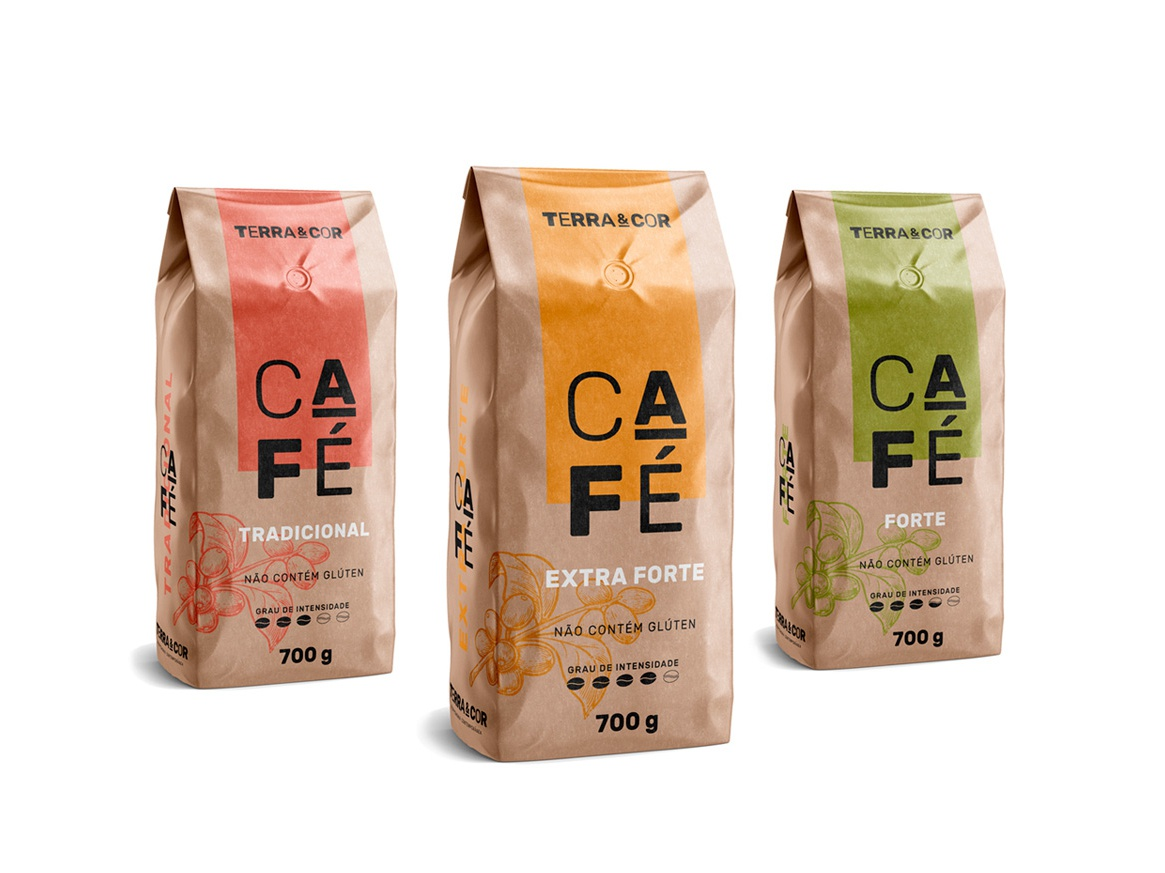 Terra & Cor - Premium Coffee kraft illustration coffe typography packing package
