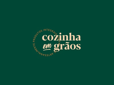 Cozinha em Grãos - Logo nuts bread seal organic typography brand idendity logo