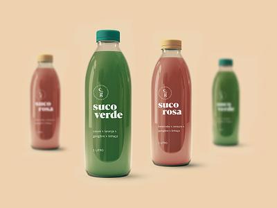 Cozinha em Grãos - Juice handmade brand identity green glass bottle nuts juice package design typography