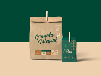 Cozinha em Grãos - Nuts Package organic nuts health typography brand kraft paper pack design package