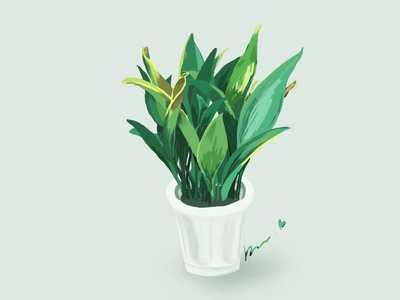 My mum's green plant cartoon plant design illustration